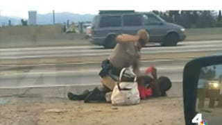 Video footage of the July 1, 2014, incident shows an officer on top of Marlene Pinnock.NBC Los Angeles 4 Screenshot