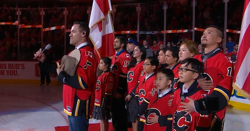 Illustration for article titled New Canadian Citizens Sing Anthem At Flames Game