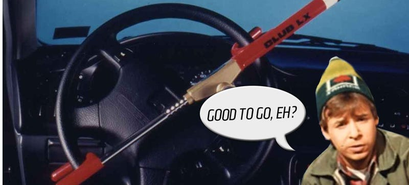 Illustration for article titled Remarkable Canadian Idiot Drives Car With Club On Steering Wheel