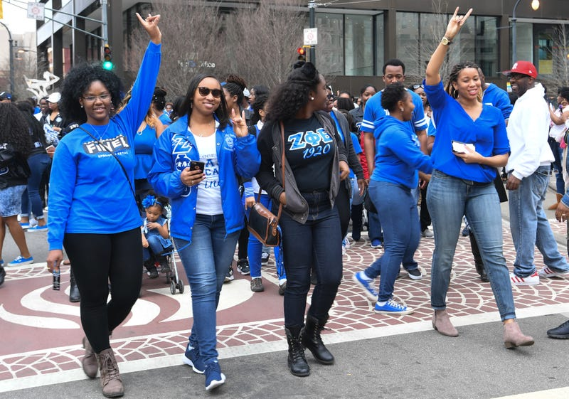 Members of Zeta Phi Beta Sorority, Inc. participate in the 2017 Martin Luther King Jr. Day March and Rally  on January 16, 2017 in Atlanta, Georgia.