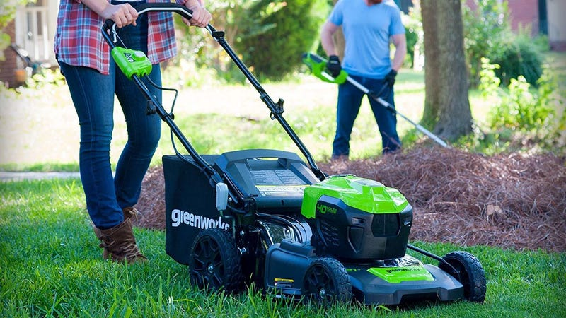 "GreenWorks 40V 21"" Electric Mower With Two Batteries 