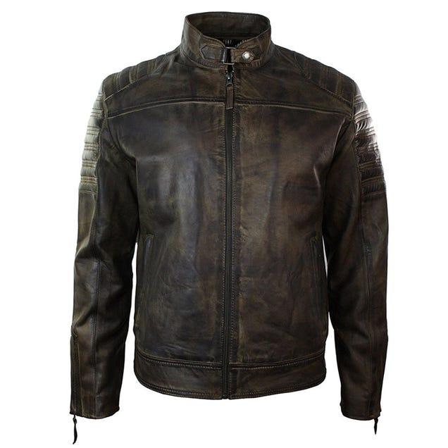 Illustration for article titled Retro Urban Vintage Distressed Biker Brown Real Leather Jacket