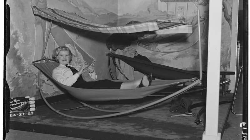 Relaxing tool: Tubular steel hammock, 1937. (Photo: Daily Herald Archive/SSPL/Getty Images)