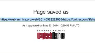 Illustration for article titled Manually Archive Web Pages by Submitting Them to the Wayback Machine