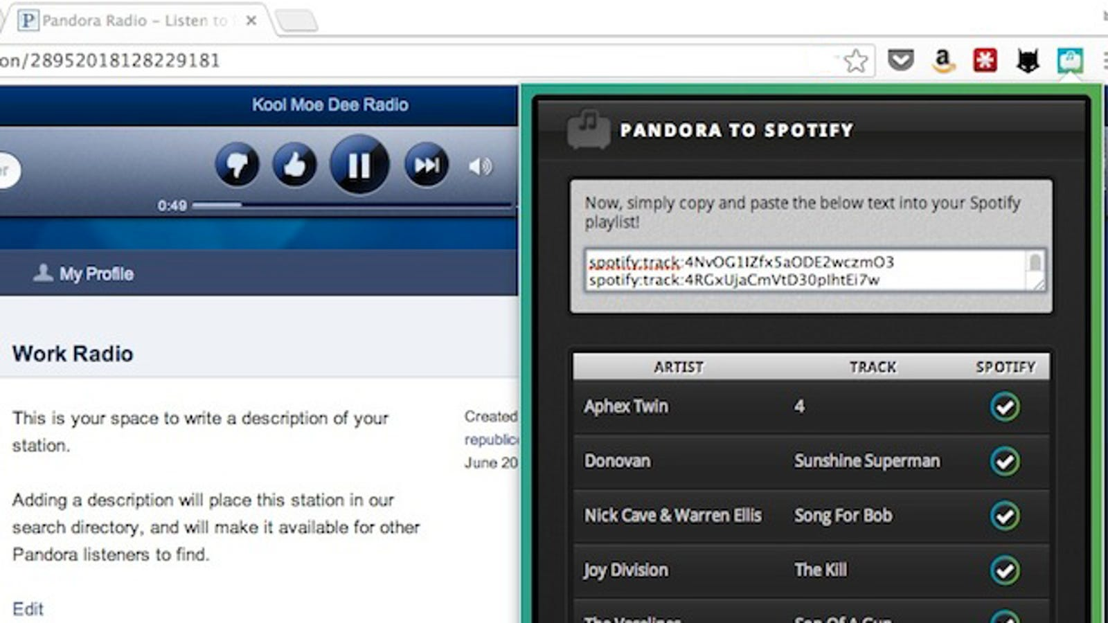 convert pandora stations to spotify playlists with a chrome extension