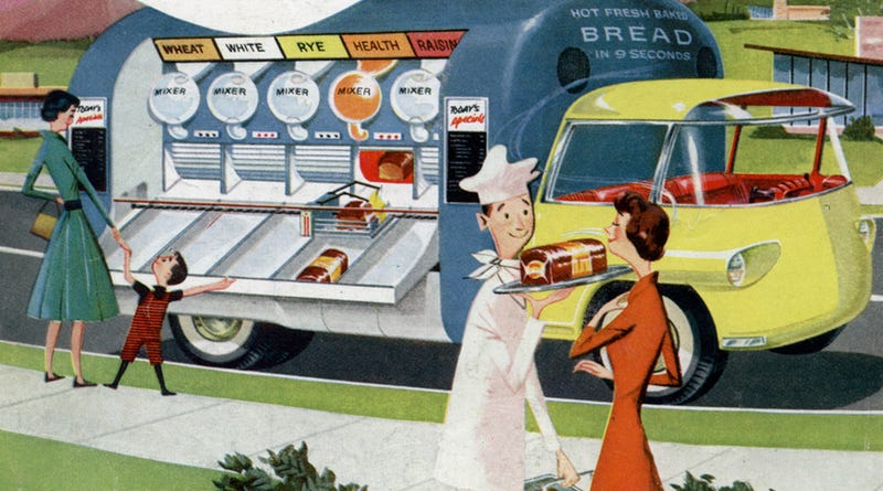 Illustration for article titled This 1950s Futuristic Food Truck Could Bake Bread in Just Nine Seconds