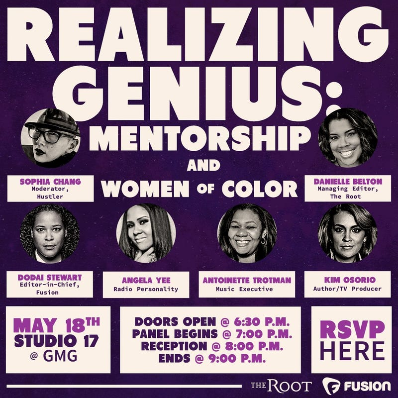 Illustration for article titled REALIZING GENIUS - Mentorship & WOC:  5/18, NYC