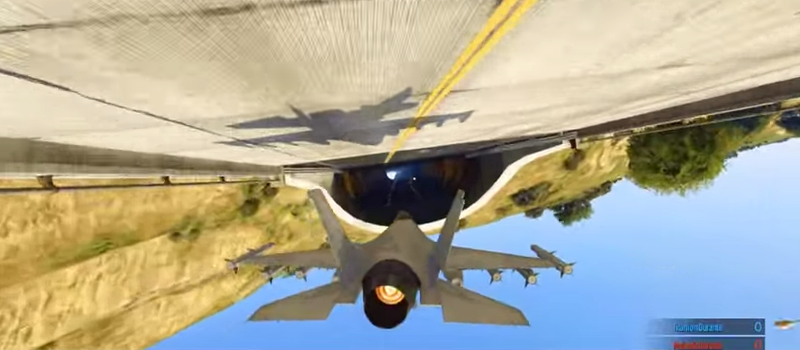 Illustration for article titled Jaw-Dropping Fighter Jet Stunts In Grand Theft Auto 5