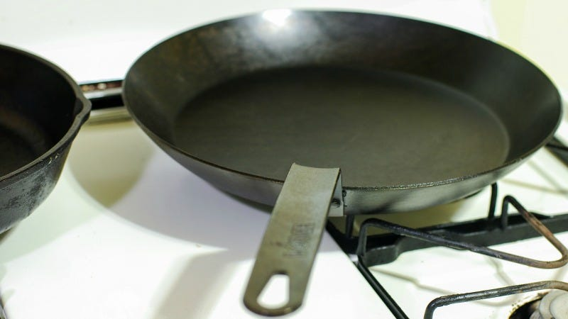 season a carbon steel pan with oil and potato peels. Black Bedroom Furniture Sets. Home Design Ideas
