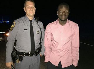 Virginia State Trooper Matt Okes and Joseph OwusuDr. Nadu Owusu