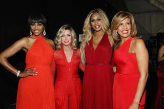 Cynthia Bailey, Donna Mills, Laverne Cox and Hoda Kotb pose backstage at the Go Red for Women Red Dress Collection 2015 presented by Macy's fashion show during New York Fashion Week at Lincoln Center Feb. 12, 2015.Astrid Stawiarz/Getty Images for Go Red