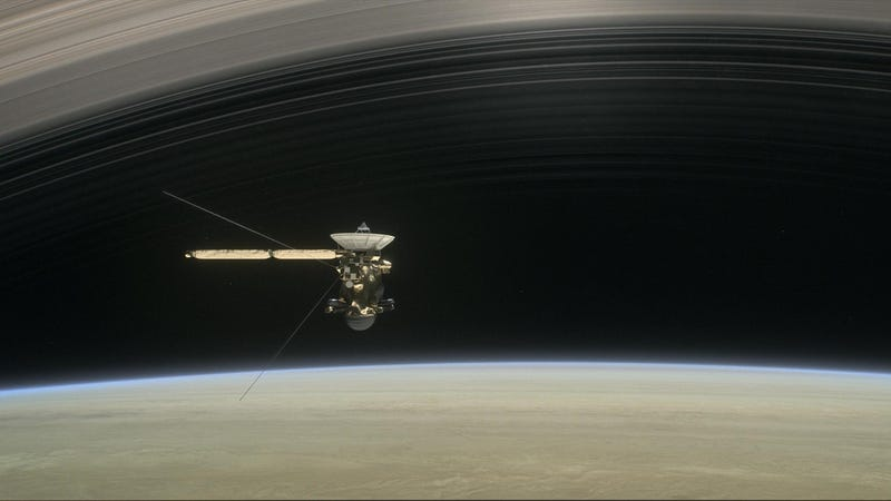 Artist impression of Cassini orbiting within Saturn's rings