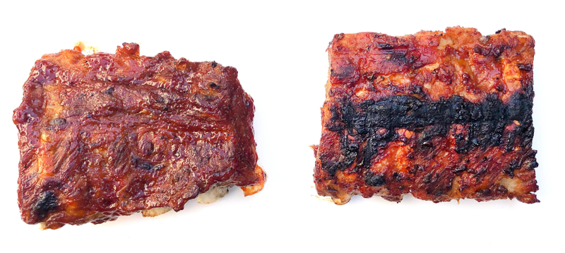 Instant Pot baby back ribs finished under broiler (left), finished on a grill (right)