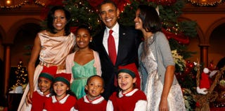 The first family at Christmas in Washington, D.C. (Getty Images)