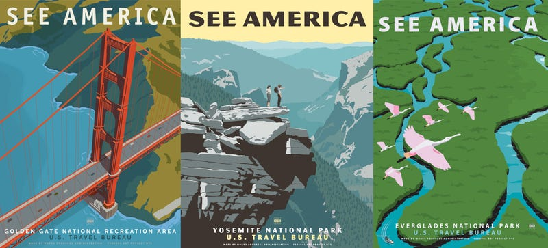 Express your american pride with vintage style national park posters between 1936 and 1943 the works progress administration produced about 2000 posters to publicize everything from civic events to national parks gumiabroncs Choice Image