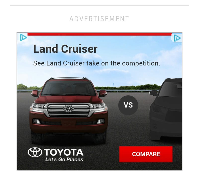 """Illustration for article titled """"See Land Cruiser take on the competition"""""""