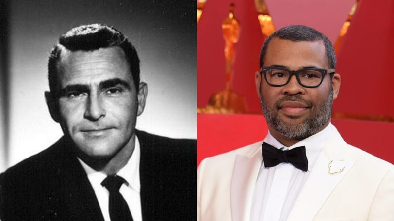 Left: Rod Serling from CBS's The Twilight Zone. Right: Jordan Peele at 2018's Academy Awards.