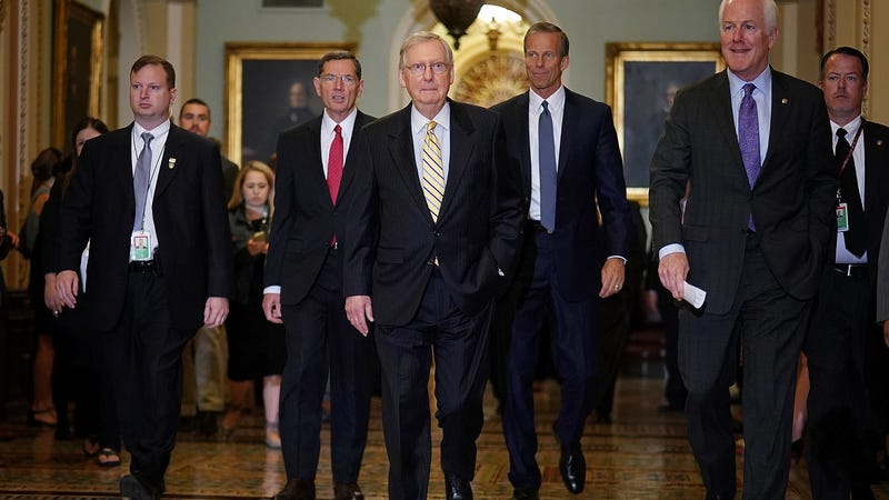 Senate Majority Leader Mitch McConnell (R-Ky.), center, with members of the Senate Republican leadership  at the U.S. Capitol in Washington, D.C., on Sept. 12, 2017. Also pictured are Sens. John Barrasso (R-Wyo.), second left; John Thune (R-S.D.), third right; and John Cornyn (R-Texas), second right. (Win McNamee/Getty Images)