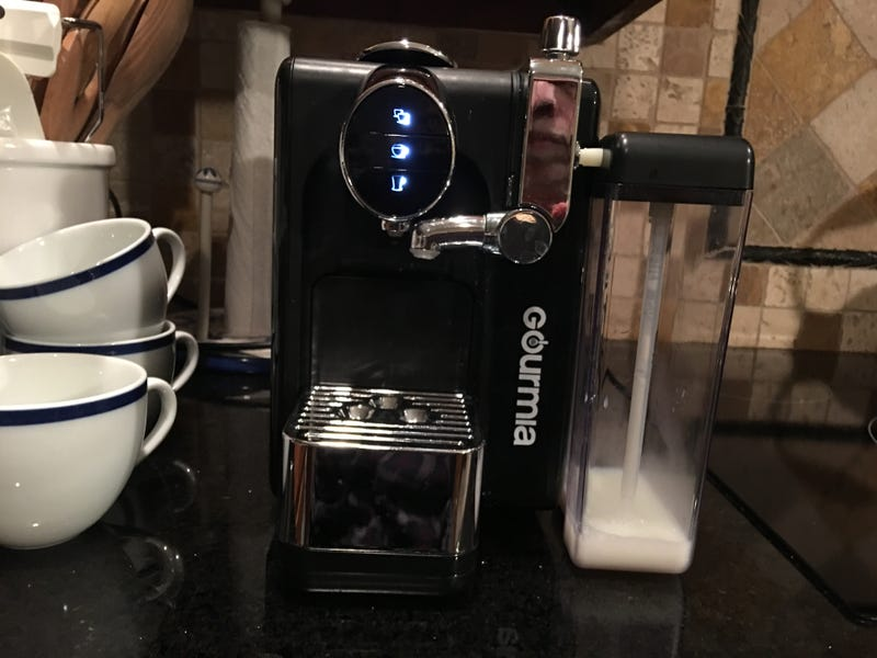 Looks good on my counter.  The chromed plastic assembly is the milk frothing device.