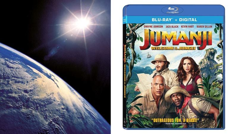 The moon and a copy of Jumanji on DVD