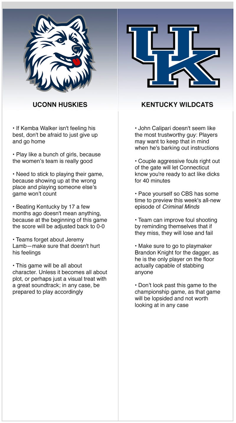 Illustration for article titled Final Four: UConn vs. Kentucky