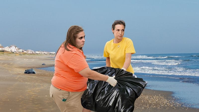 Illustration for article titled Rescuers Heroically Help Beached Garbage Back Into Ocean