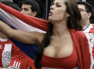 Illustration for article titled Paraguay Girl, Larissa Riquelme, Will Shed What Little Clothing She Wears If Team Wins Cup