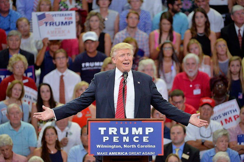 Republican presidential candidate Donald Trump addresses the audience during a campaign event at Trask Coliseum on Aug. 9, 2016, in Wilmington, N.C.Sara D. Davis/Getty Images