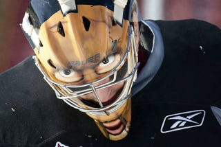 Illustration for article titled Despite Appearances, This Goalie Is Not Wearing A Mask Of Human Skin