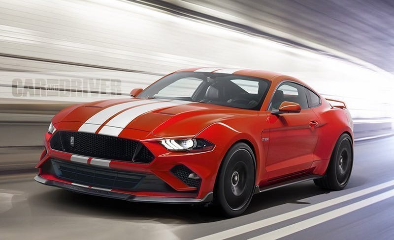 Car and Driver Shelby GT500 render. Ford is teasing 755 hp. A stock 650 hp Camaro ZL1 already runs 11.5 second quarter mile times.