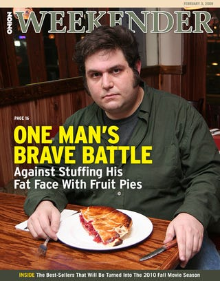 Illustration for article titled One Man's Brave Battle Against Stuffing His Fat Face With Fruit Pies