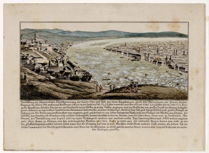Illustration for article titled Árvíz a Gellért-hegyről nézve, egy 175 éves képen