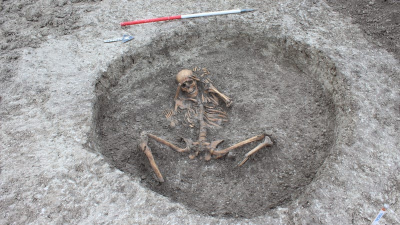 A female skeleton found at the site with hands bound  and feet removed.