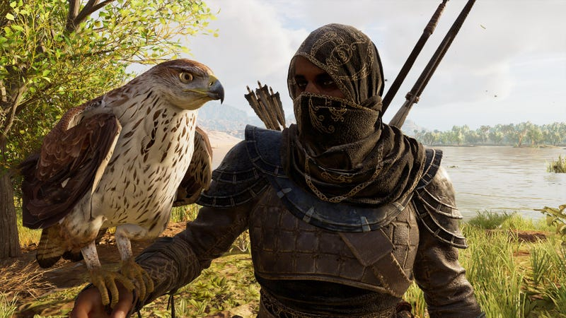 Assassin's Creed Origins protagonist Bayek and his bird Senu. You know, the bird does a lot of the work identifying who in the game is an enemy. Hope that bird has been a good judge of character.