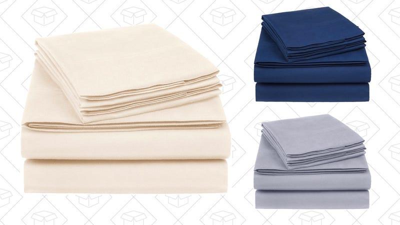 AmazonBasics Essential Cotton Blend Sheet Set - Queen   $25   AmazonAmazonBasics 400 Thread Count Sheet Set, - Queen, Dark Gray   $36   AmazonAmazonBasics 400 Thread Count Sheet Set - King, Navy   $23   AmazonAmazonBasics 400 Thread Count Sheet Set - Queen, Smoke Blue   $32   Amazon