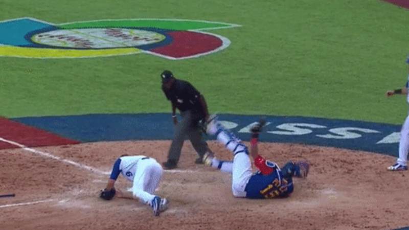 Salvador Perez injured after Drew Butera collided with him at the WBC