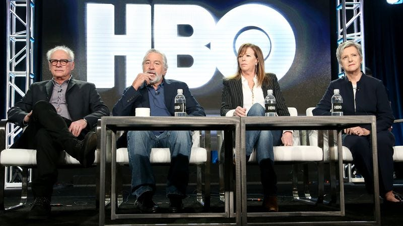 Executive producer/director Barry Levinson, executive producer/actor Robert De Niro, executive producer Jane Rosenthal, and author/consultant Diana Henriques of the film The Wizard Of Lies. (Photo: Frederick M. Brown/Getty Images)