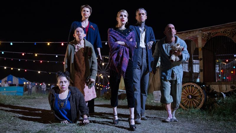 Watching Jimmy Darling's arrest: Rose Siggins, Naomi Grossman, Erika Ervin, Emma Roberts, Mat Fraser, Christopher Neiman [Sam Lothridge/FX]