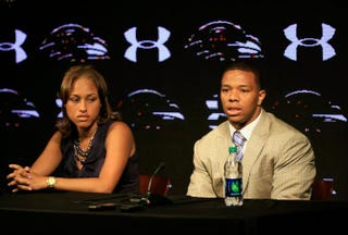 Running back Ray Rice of the Baltimore Ravens addresses a news conference with his wife, Janay, at the Ravens training center on May 23, 2014, in Owings Mills, Md. Rice faced felony assault charges stemming from a February incident involving Janay at an Atlantic City, N.J., casino.Rob Carr/Getty Images