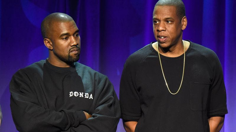 Kanye and Jay Z during happier, less shit-filled times. (Photo: Kevin Mazur/Getty Images For Roc Nation)