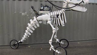 A Rideable T-Rex Skeleton Tricycle Is all my Jurassic Dreams Come True