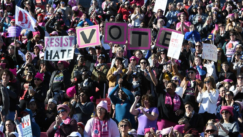 Demonstrators attend the Women's March 'Power to the Polls' voter registration tour launch, Las Vegas, January 21, 2018. Photo: Getty.