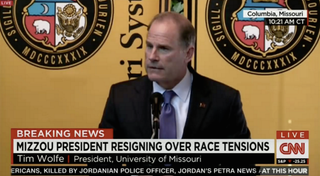 Mizzou President Tim Wolfe announcing his resignationCNN