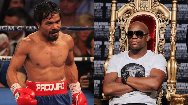 Illustration for article titled Manny Pacquiao Will Take A 45-55 Split, So It's Time For Floyd Mayweather To Stop Being A Baby And Fight Him Already