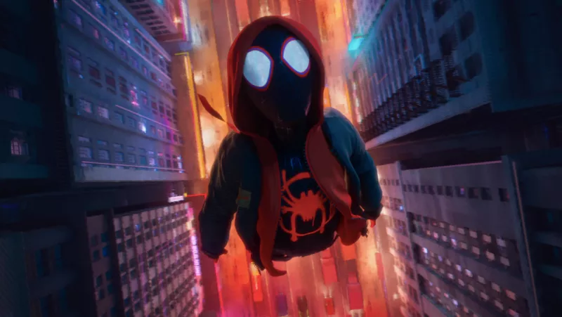 Miles Morales, in the air.