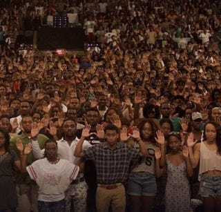 Howard University students posing for a #DontShoot photo posted on Twitter Aug. 13, 2014.Megan Sims via Twitter