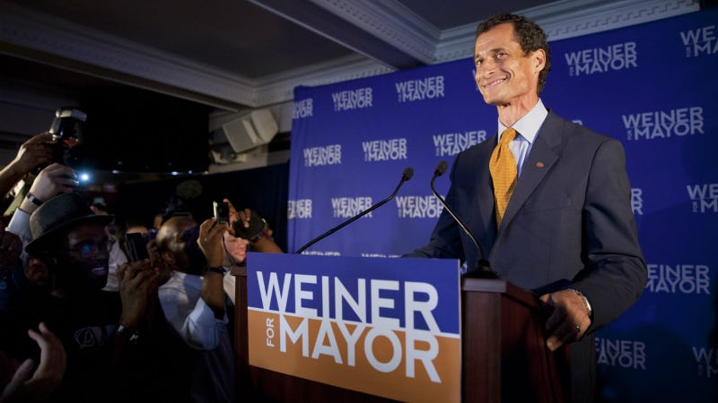 Weiner during his mayoral race, September 2013. Photo via AP