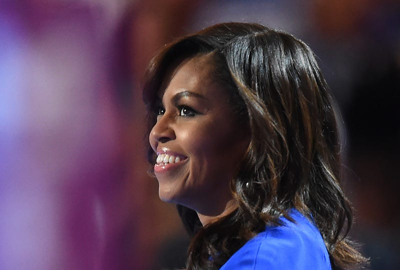 First lady Michelle Obama speaks on the first day of the Democratic National Convention at the Wells Fargo Center in Philadelphia on July 25, 2016.ROBYN BECK/AFP/Getty Images