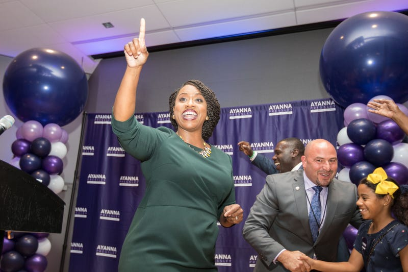 Ayanna Pressley, Boston City Councilwomen and House Democratic candidate, gives a victory speech at her primary night gathering after her opponent Mike Capuano conceded on September 4, 2018 in Boston, Massachusetts.