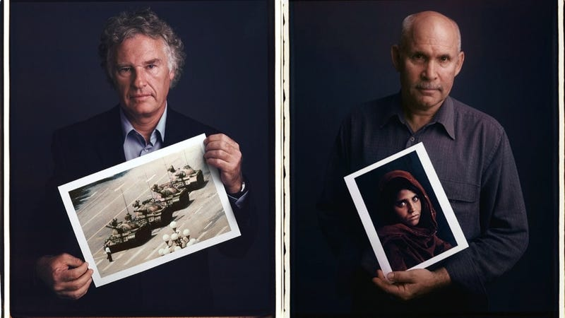 Illustration for article titled Here Are Famous Photographers Posing with Their Even More Famous Photographs
